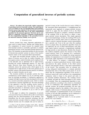 Computation of generalized inverses of periodic systems