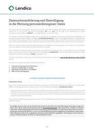 Datenschutzerklärung und Einwilligung in die Nutzung ... - Lendico