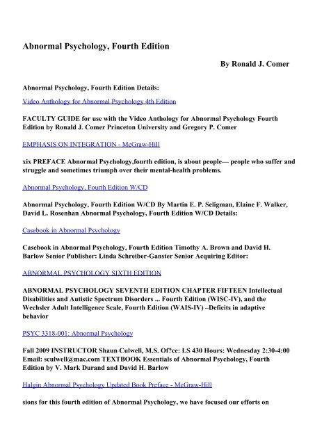 Essentials Of Abnormal Psychology 7th Edition Pdf