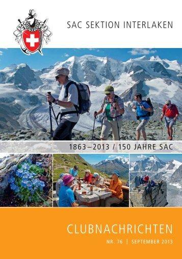 Clubheft Nr. 76 – September 013 - SAC Sektion Interlaken