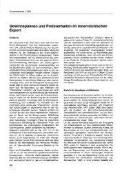 Gewinnspannen und Preisverhalten im österreichischen Export - Wifo