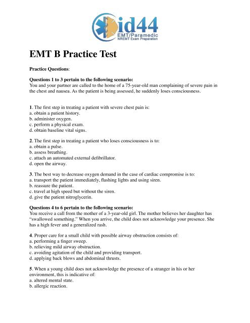 8a5b51071c EMT B Practice Test - EMT Tests