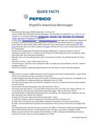 Pepsi Americas Beverages (PAB) Quick Facts - PepsiCo