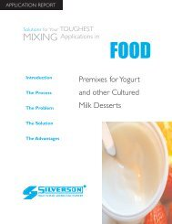 Premixes for Yogurt and Other Cultured Milk Products - Silverson ...