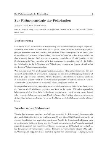 Zur Phänomenologie der Polarisation