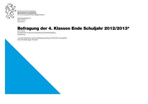 Befragung der 4. Klassen (September 2013) - Kantonsschule ...