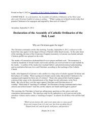 Declaration of the Assembly of Catholic Ordinaries of the Holy Land