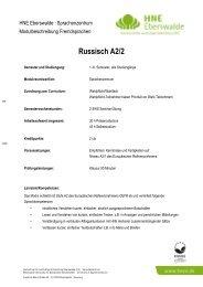 Russisch A2/2 - Hochschule für nachhaltige Entwicklung Eberswalde
