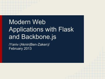 Modern Web Applications with Flask and Backbone.js