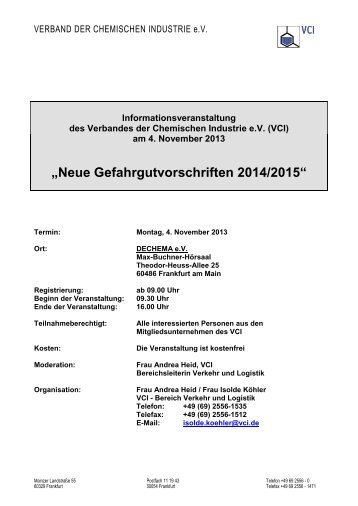 """""""Neue Gefahrgutvorschriften 2014/2015"""" - VCI Hessen"""