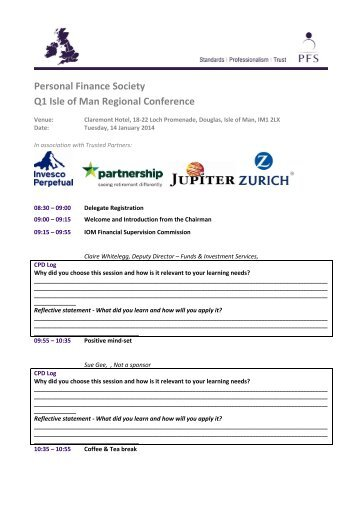 Isle of Man 14 January Agenda - The Personal Finance Society