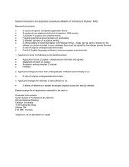 General instructions and application procedures - Carleton University
