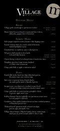 dinner menu - The Village Bar & Kitchen