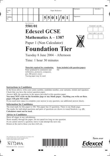 edexcel gcse mathematics unit 3 section a specimen terminal paper
