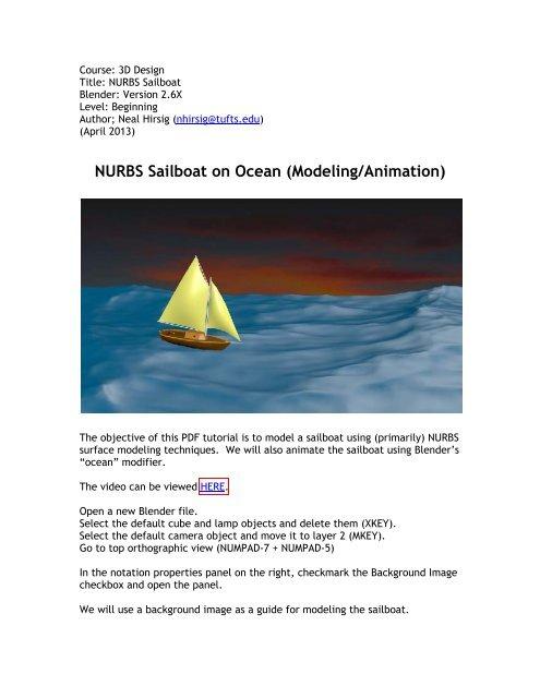 NURBS Sailboat on Ocean (Modeling/Animation) - Blender 3D
