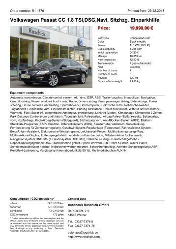 Volkswagen Passat CC 1.8 TSI,DSG,Navi, Sitzhzg, Einparkhilfe Price