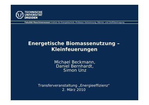 Energetische Biomassenutzung – Kleinfeuerungen