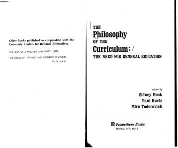 The Philosophy of the Curriculum-The Need for General ...