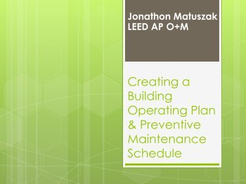 Creating a building Operating Plan & Preventive ... - State of Illinois