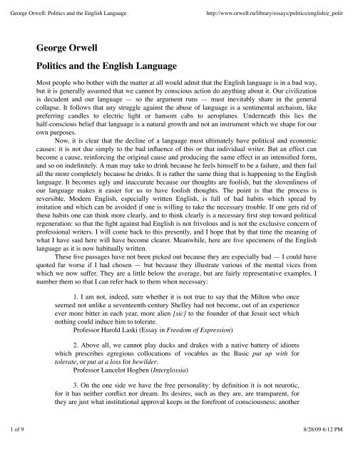 george orwell the politics of the english language