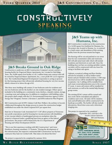 SPEAKING SPEAKING SPEAKING - J & S Construction Company Inc.