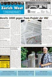 Bereits 3000 gegen Tram-Projekt der VBZ - Lokalinfo AG