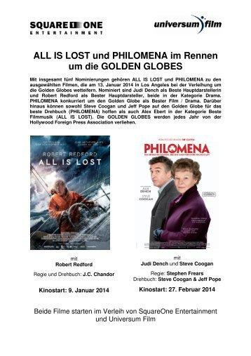 ALL IS LOST und PHILOMENA im Rennen um die GOLDEN GLOBES