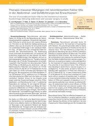Therapie massiver Blutungen mit rekombinantem Faktor VIIa in der ...