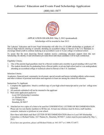 Education and Events Fund Scholarship Application - Local 368
