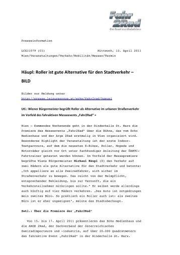 Häupl: Roller ist gute Alternative für den ... - Echo Medienhaus