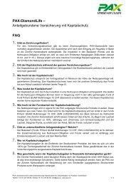FAQ - Pax Schweizerische Lebensversicherungs-Gesellschaft