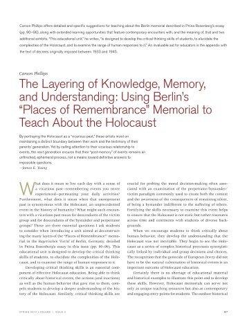 places of remembrance - Holocaust Education Centre