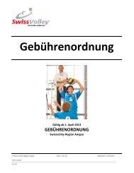 Gebührenordnung - Regionaler Volleyballverband Aargau