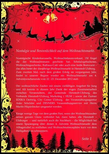 Nostalgie und Besinnlichkeit auf dem Weihnachtsmarkt. - Henstedt ...