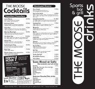 Carte des cocktails - The Moose