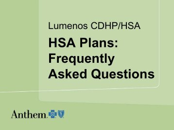 Frequently Asked Questions About HSA Plans