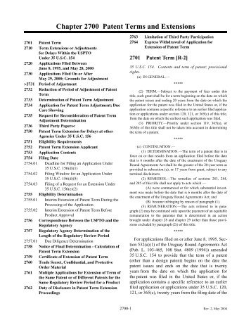 MPEP Chapter 2700 - Patent Terms and Extensions - United States ...