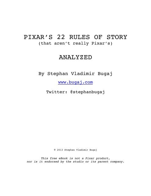 PIXAR'S 22 RULES OF STORY ANALYZED - Squarespace