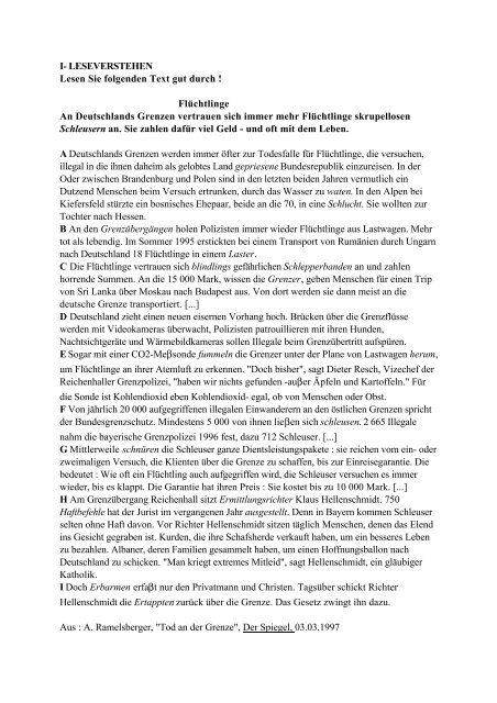 Flüchtlinge An Deutschlands Grenzen vertrauen ... - Concours ENSEA
