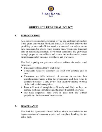 FirstRand India Grievance Redressal Policy