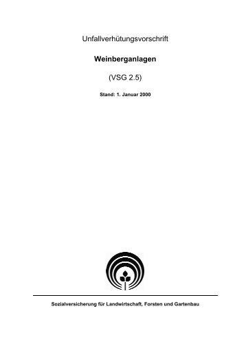 Unfallverhütungsvorschrift Weinberganlagen (VSG 2.5) - SVLFG
