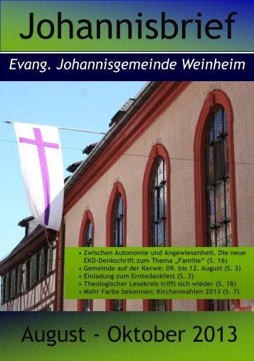 Gemeindebrief - in der evangelischen Johannisgemeinde Weinheim