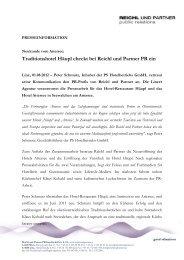 Traditionshotel Häupl checkt bei Reichl und Partner PR ein - PR Portal