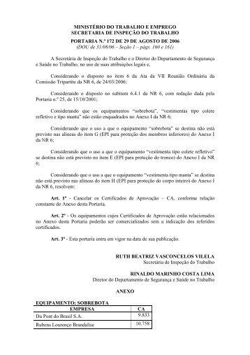 Portaria Nº 172, de 29/08/2006  - Ministério do Trabalho e Emprego