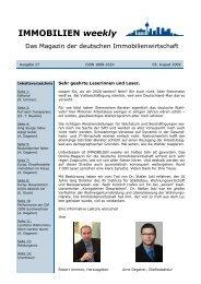 IMMOBILIEN weekly Ausgabe 27 vom 05 August 2009