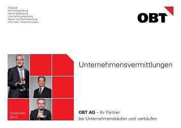 aktuelles Unternehmensvermittlungs-Bulletin Dezember 2013 - obt