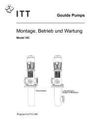Montage, Betrieb und Wartung - Goulds Pumps