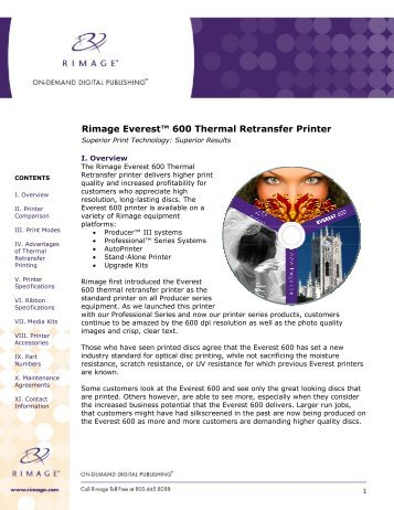 Rimage Everest™ 600 Thermal Retransfer Printer - Inception ...