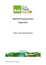B&Q Paint Buying Standard August 2013 Policy Lead: Rachel Bradley