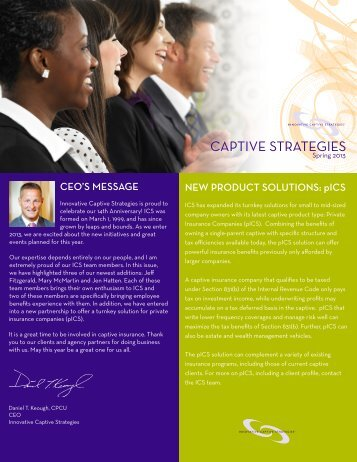 Download the Spring 2013 ICS Newsletter - Innovative Captive ...